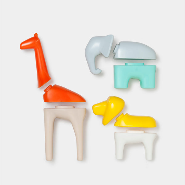 Kid O's brightly colored mix and match animals pieces lying next to each other