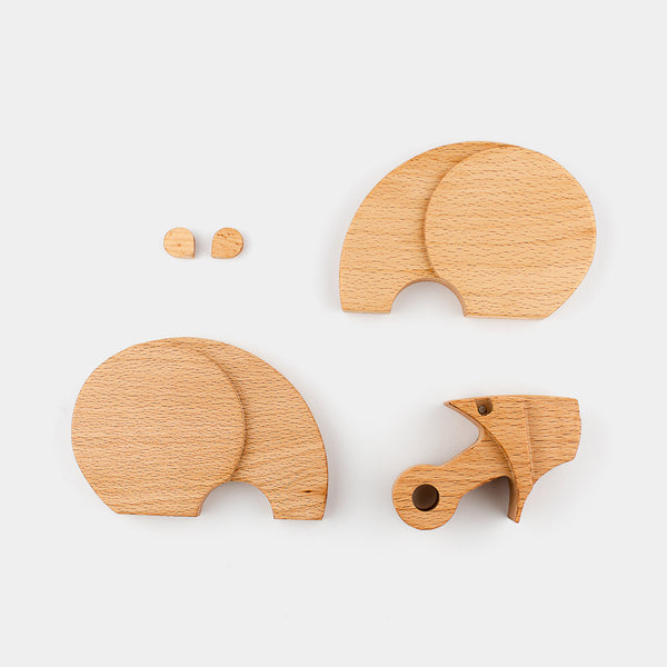 Groso The Bear by Wodibow — A great wooden animal puzzle with internal magnets that allow assembly of each puzzle and a bit of movement.