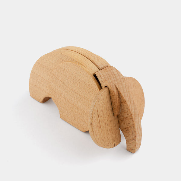 Olaf The Elephant by Wodibow — A great wooden animal puzzle with internal magnets that allow assembly of each puzzle and a bit of movement.