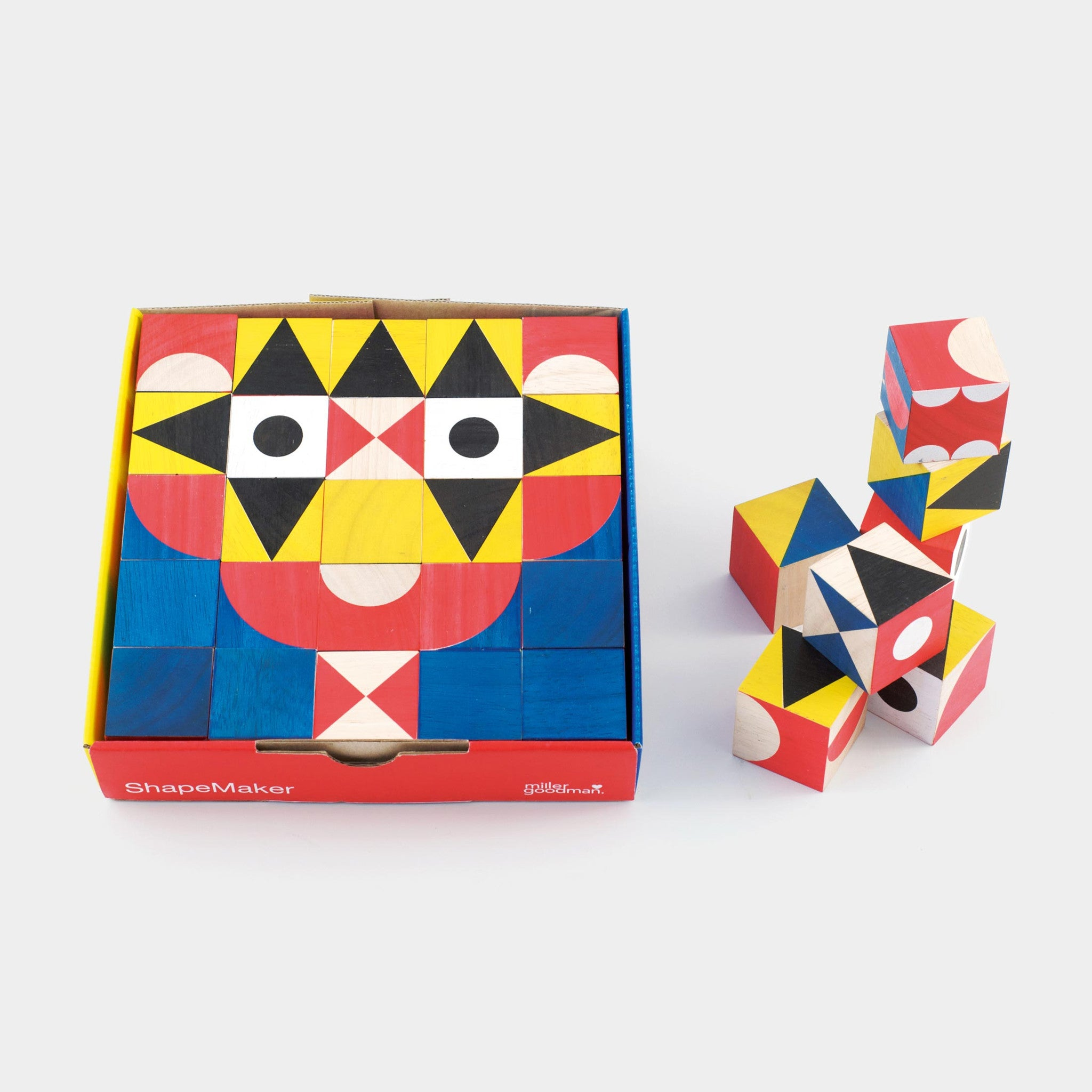 Miller Goodman's ShapeMaker is a set of 25 colourful, hand printed, environmentally friendly hardwood blocks made of replenishable rubber wood.