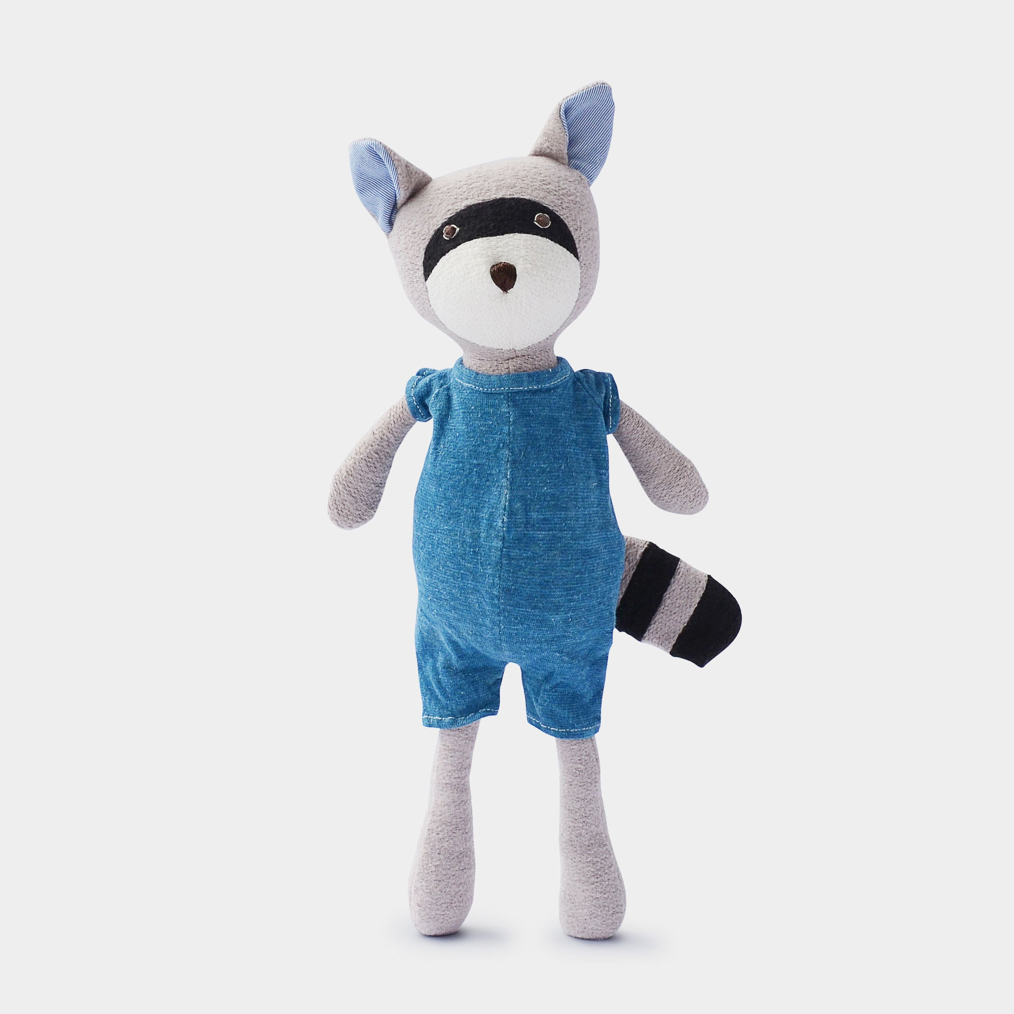 The grey soft toy, Max Raccoon - a sustainable organic cotton cuddly toy raccoon by Hazel Village