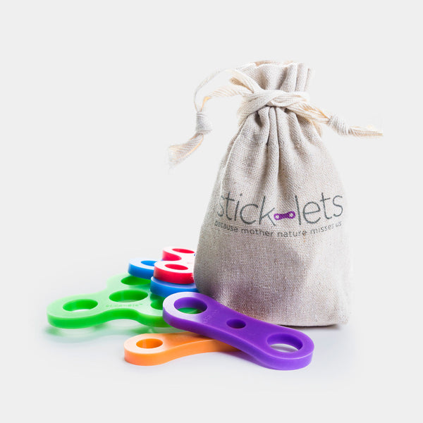 Stick-lets are flexible silicone toys that can used to build outdoor creations. Supply the sticks & ideas, and Stick-lets holds them together for hours of play.