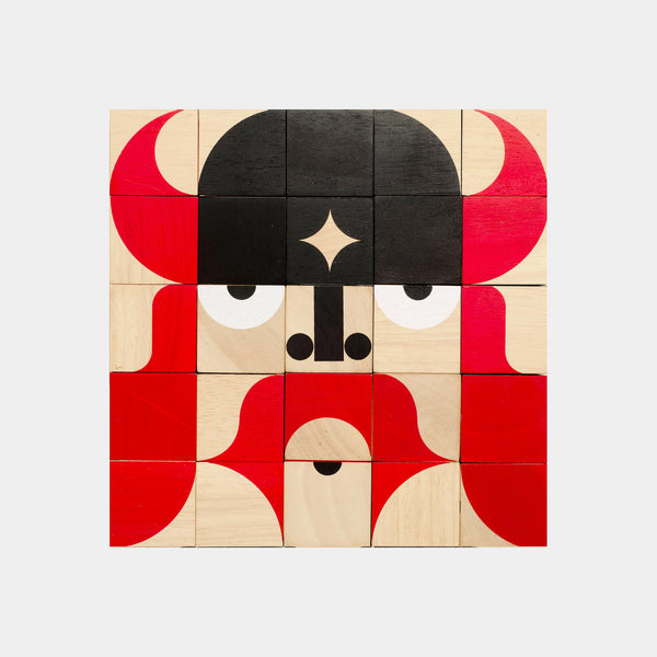 Miller Goodman's Facemaker is a set of 25 colourful, hand printed, environmentally friendly hardwood blocks made of replenishable rubber wood.