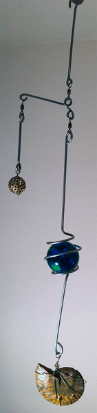 Handcrafted Artisan Mobile featuring Silver Wire Wrapped Rainbow Ammonite Fossil, Expanded Silver Ball Accent & Lampwork Focal Marble