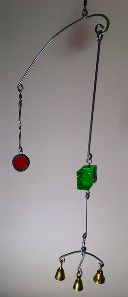 Handcrafted Artisan Mobile featuring Red & Green Art Glass with Brass Bells