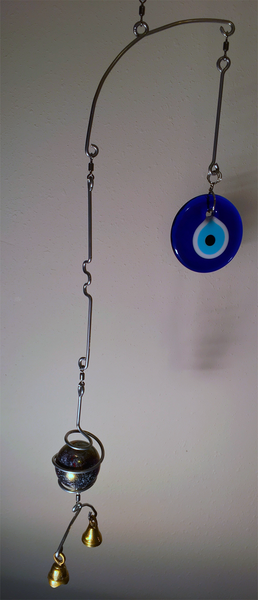 Handcrafted Artisan Mobile featuring large Lampwork Iridized Silver Focal Marble and Turkish Evil Eye