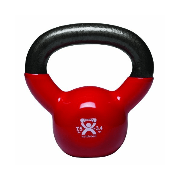 Cando Vinyl-Coated Kettlebell Red 7.5 lbs - SelfCareCentral - CanDo