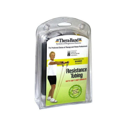 "Thera-Band Tubing with Soft Grip Handles Yellow 48"" - SelfCareCentral - Thera-Band"