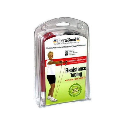 "Thera-Band Tubing with Soft Grip Handles Red 48"" - SelfCareCentral - Thera-Band"