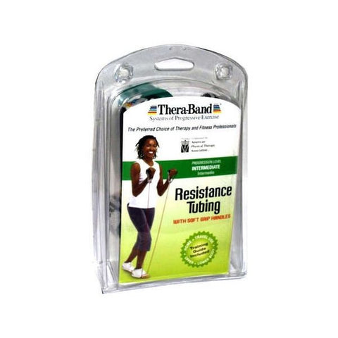 "Thera-Band Tubing with Soft Grip Handles Green 48"" - SelfCareCentral - Thera-Band"