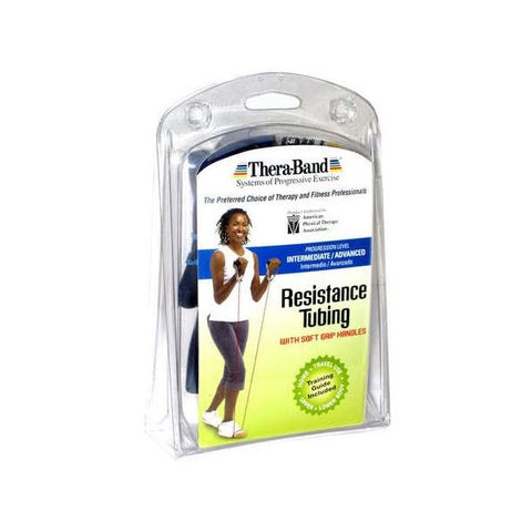 "Thera-Band Tubing with Soft Grip Handles Blue 50"" - SelfCareCentral - Thera-Band"