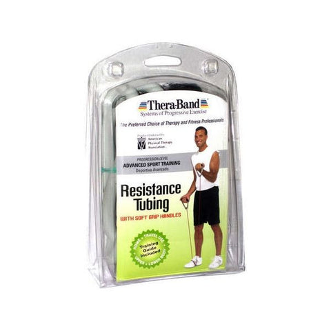"Thera-Band Tubing with Soft Grip Handles Silver 50"" - SelfCareCentral - Thera-Band"