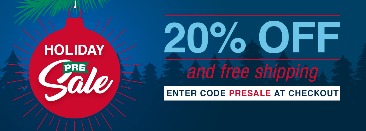 20% off and free shipping. Enter code PRESALE at checkout.