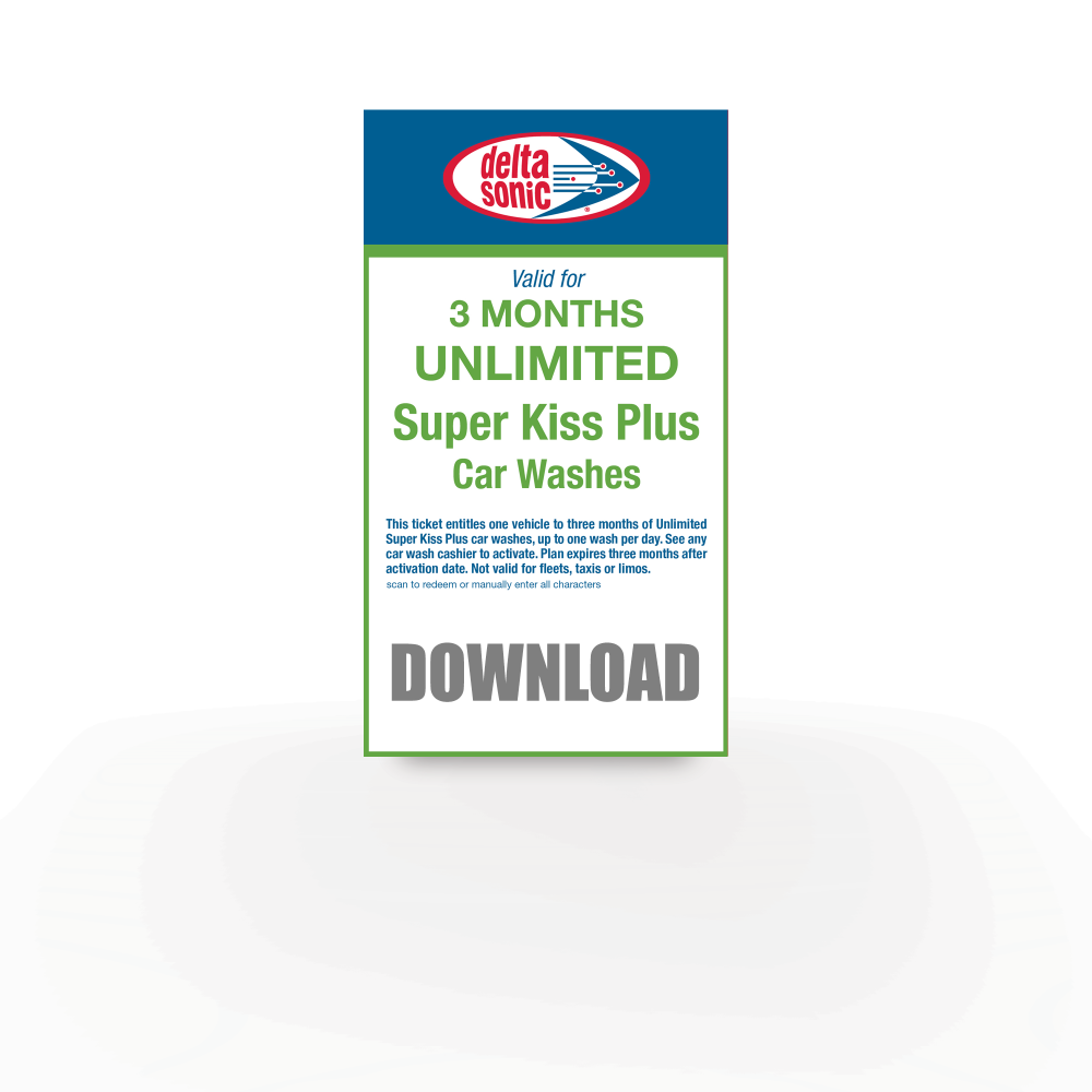 3 months of Unlimited Super Kiss Plus Car Washes download ticket