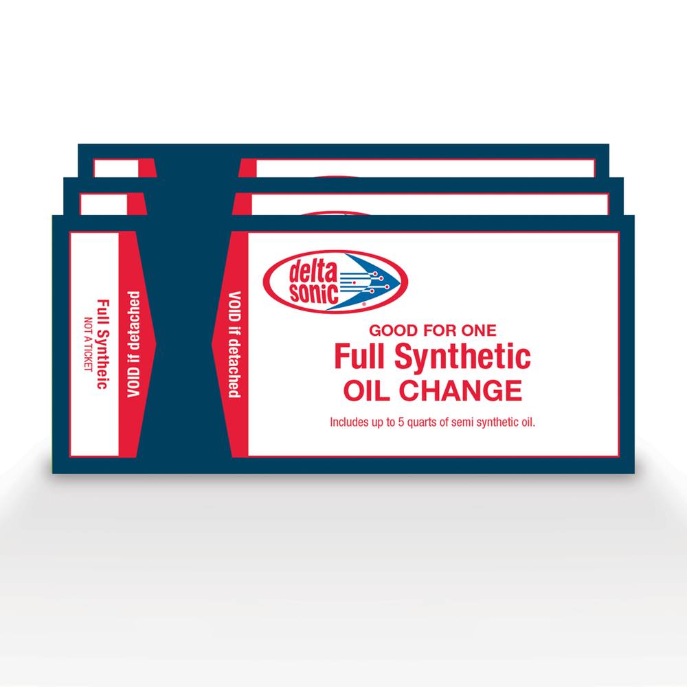 3 pack of Delta Sonic's Full Synthetic Oil Change tickets