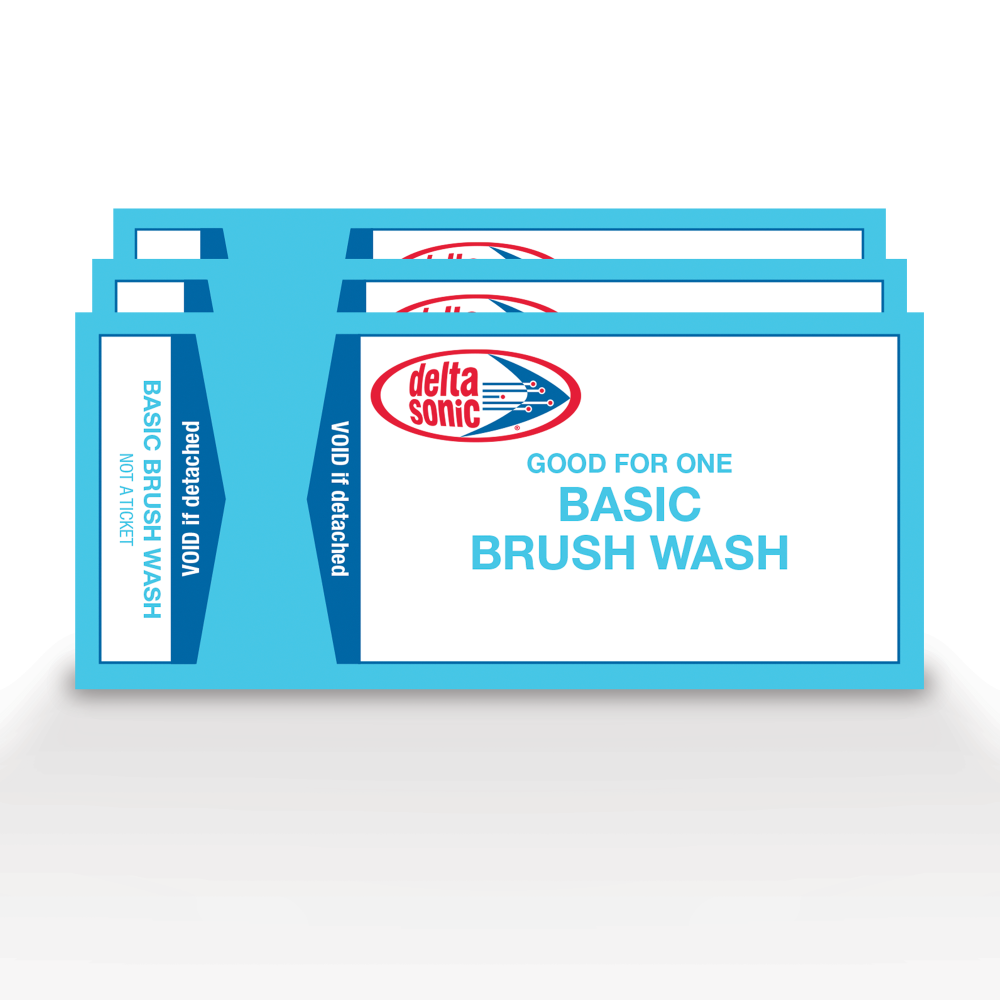 3 tickets for Delta Sonic's Basic Brush Car Wash