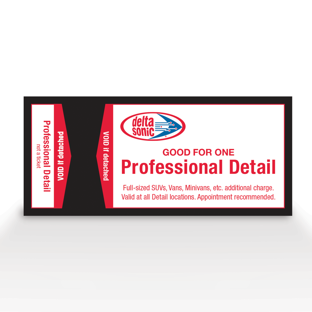 Image of ticket for Delta Sonic's Professional Detail service.