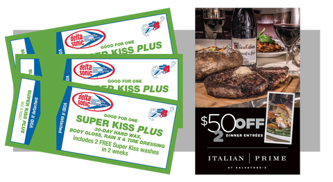 3 Super Kiss Plus Washes and FREE $50 Dinner Certificate to Salvatore's