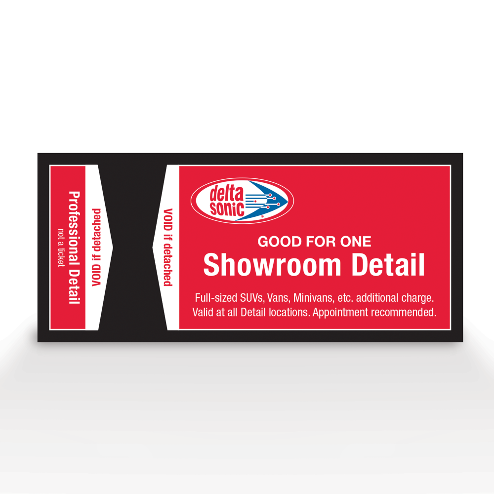 Image of ticket for Delta Sonic's Showroom Detail service