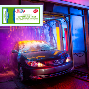 Car going through Delta Sonic car wash receiving Super Kiss Plus with Super Kiss Plus ticket overlaid on image.