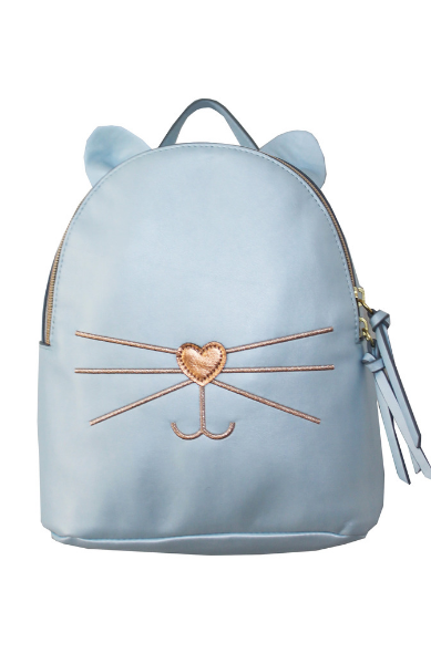 Check Meowt Backpack in Light Blue & Rose Gold