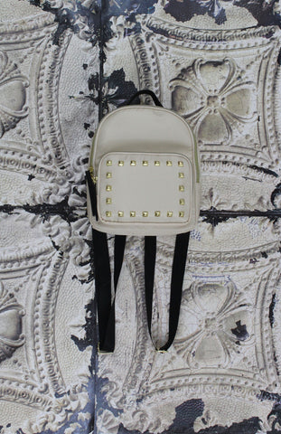 Nylon Backpack With Studs in Bone