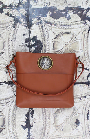 Olivia Ring Handle Bag in Cognac