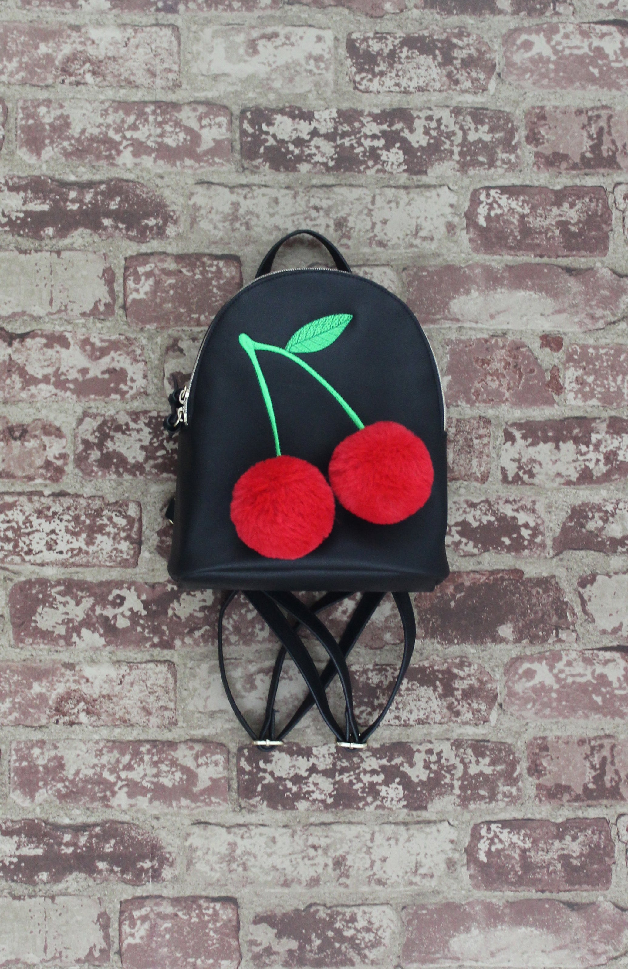 3D Cherry Backpack in Black