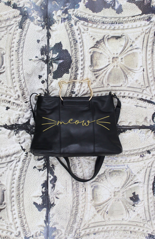 Right Meow Ring Satchel in Black