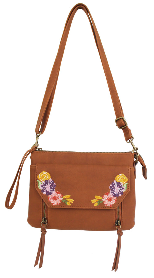 Embroidered Maven Crossbody in Cognac