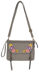 Embroidered Maven Crossbody in Grey