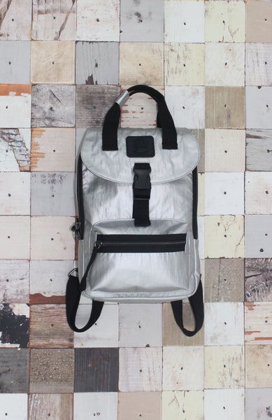 Happy Camper Small Backpack in Silver