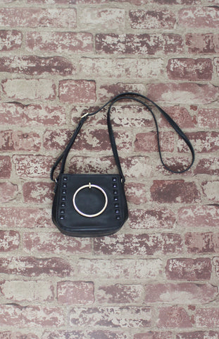 Aubrey Ring Handle Crossbody in Black