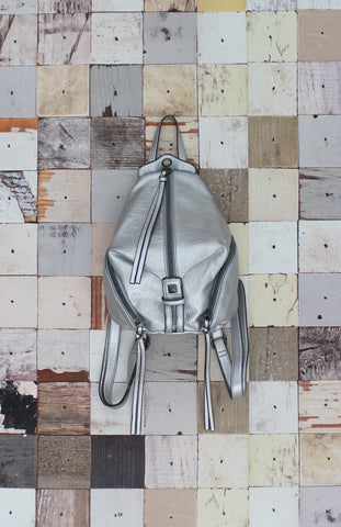 Aria Mini Zipper Backpack in Silver