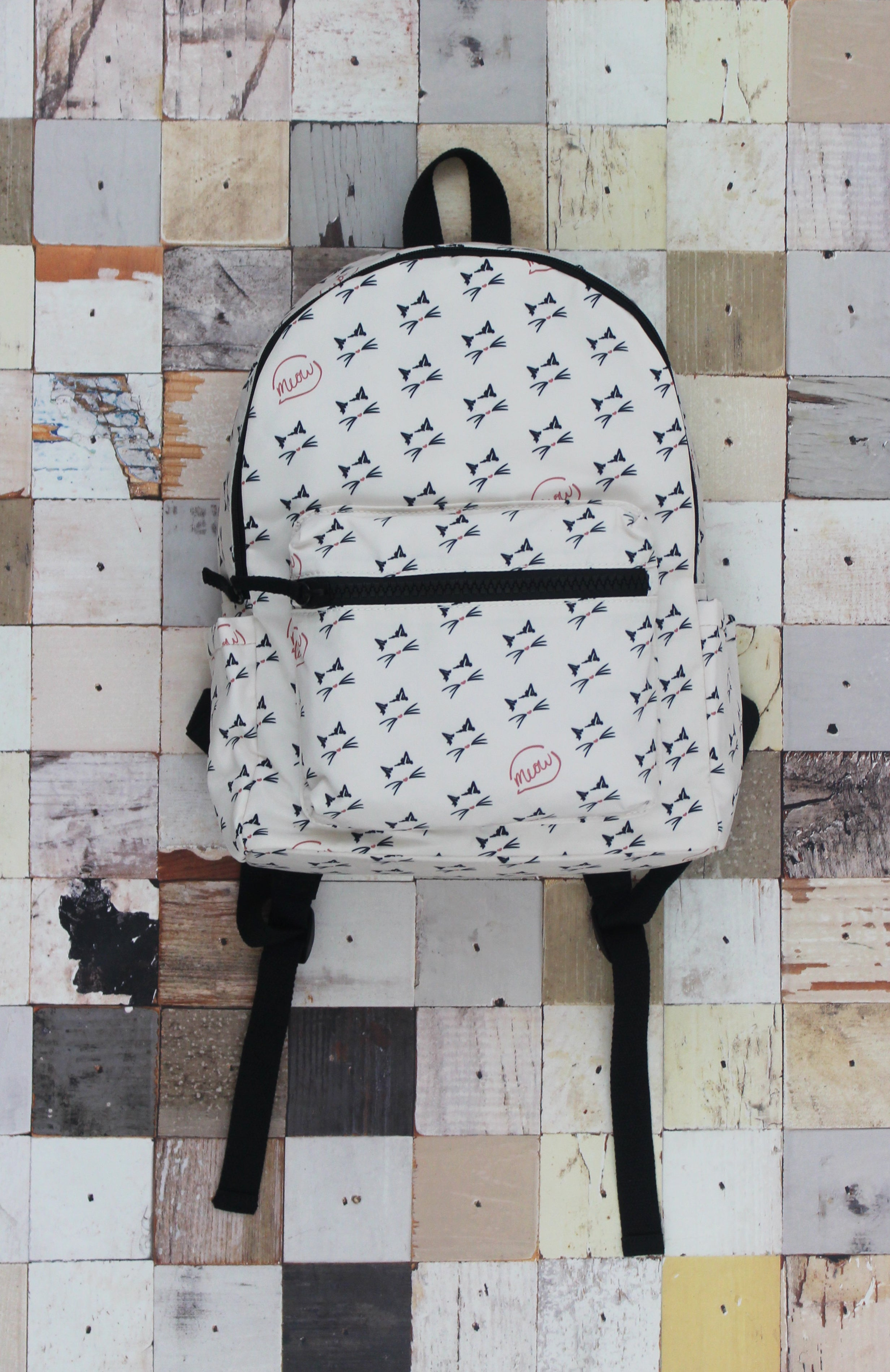 Campus Backpack in White Meow