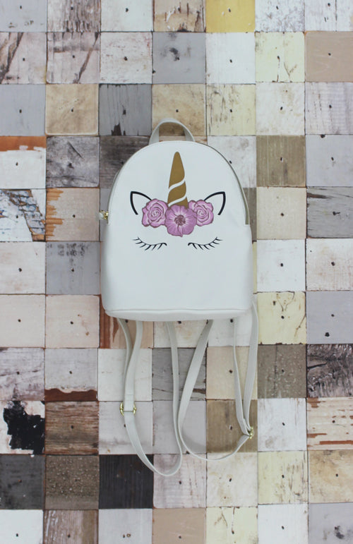 Luna Unicorn Backpack in White