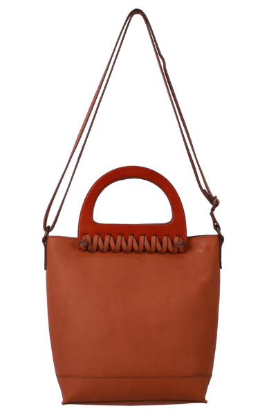 Lea Wood Handle Satchel in Cognac