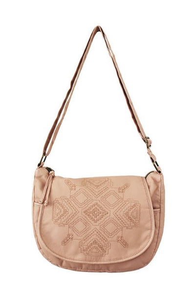 Washed Flap Crossbody with Embroidery in Blush