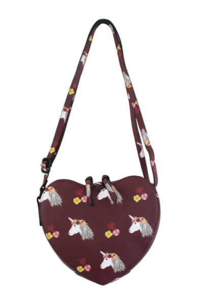 Maxine Heart Crossbody in Burgundy