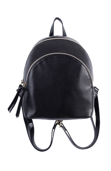 Charlotte Double Zip Backpack in Black