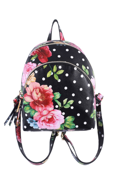 Charlotte Double Zip Backpack in Polka Dot
