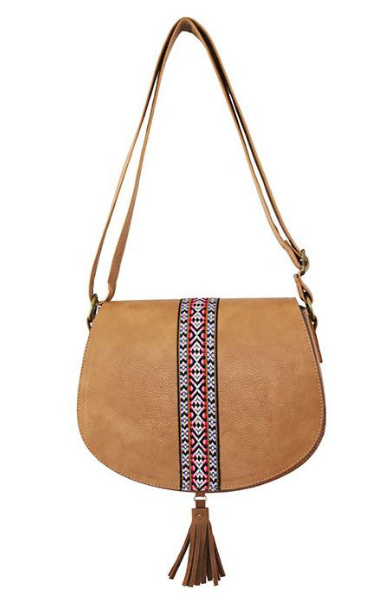 Saddle Bag with Ribbon and Tassel in Brown