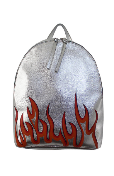 Jane Mini Dome Backpack in Silver Flamin' Hot