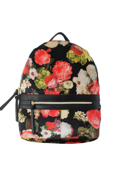 Velvet Floral Backpack in Black