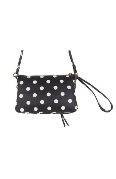 Maria Mini Wristlet in Black Polka Dot