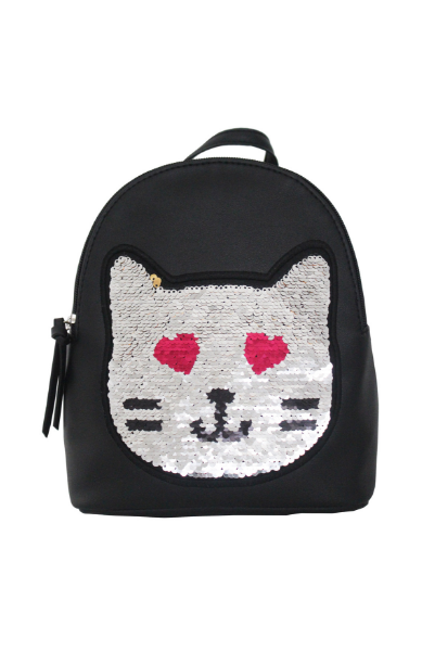 Reversible Sequin Patch Cat Backpack in Black