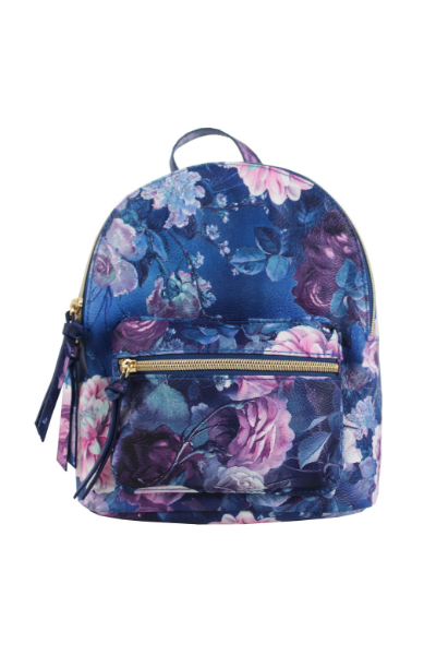 Summer Blooms Backpack in Navy & Violet