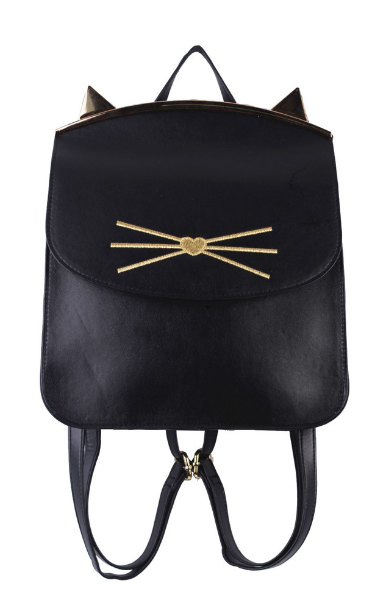 Lily Kitten Framed Backpack in Black
