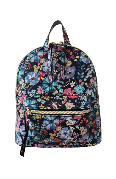 Summer Blooms Backpack in Black & Blue