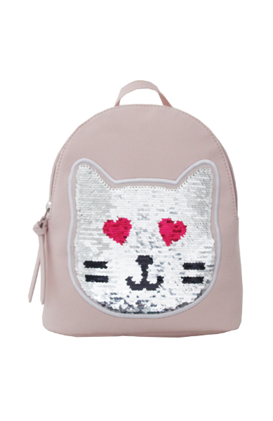 Reversible Sequin Patch Cat Backpack in Pink